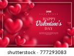 Pink Valentine's Day background with 3d hearts on red. Vector illustration. Cute love valentine banner or greeting card. Place for your text | Shutterstock vector #777293083