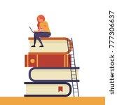 girl sitting on pile of books... | Shutterstock .eps vector #777306637
