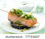 a grilled salmon fillet with... | Shutterstock . vector #77731837