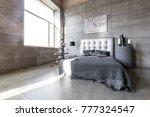 modern empty bedroom in loft... | Shutterstock . vector #777324547