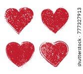 set of grunge hearts.vector... | Shutterstock .eps vector #777327913