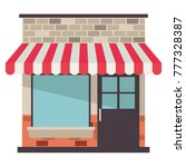 store facade with sunshade in... | Shutterstock .eps vector #777328387
