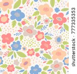cute floral seamless vector... | Shutterstock .eps vector #777335353