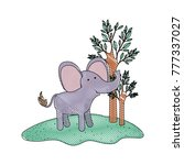 elephant cartoon in forest next ... | Shutterstock .eps vector #777337027