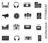 stereo icons. black flat design.... | Shutterstock .eps vector #777338143
