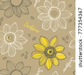 Sunflower. Vector Hand Drawn...