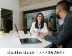 exhilarating conversation at a... | Shutterstock . vector #777362647