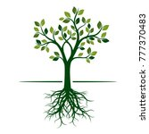 green spring tree with roots....   Shutterstock .eps vector #777370483
