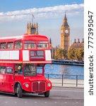big ben with double decker bus... | Shutterstock . vector #777395047