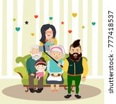 big family sitting on the sofa...   Shutterstock .eps vector #777418537