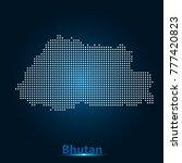 bhutan  map dots white on blue... | Shutterstock .eps vector #777420823