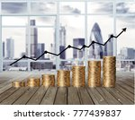 coins value chart with arrow | Shutterstock . vector #777439837