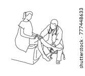 doctor examining knee joint of...   Shutterstock .eps vector #777448633