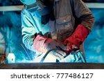 industrial welder welding... | Shutterstock . vector #777486127