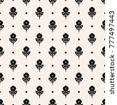Tiled seamless geometric pattern of dotted flowers in garlands. Floral motif. Beads. Abstract black and white mosaic background. Vector illustration.