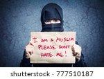 muslim girl in black hijab... | Shutterstock . vector #777510187
