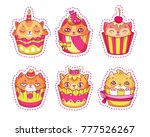 set of creative cat shaped... | Shutterstock .eps vector #777526267