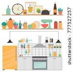 modern kitchen interior with...   Shutterstock .eps vector #777527257