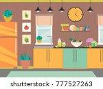 modern kitchen interior with...   Shutterstock .eps vector #777527263