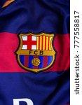 Small photo of ZAGREB, CROATIA - DECEMBER 19, 2017. - Spanish football club FC Barcelona emblem on jersey.