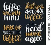 vector handwritten coffee... | Shutterstock .eps vector #777564277