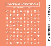winter holidays vector icons.... | Shutterstock .eps vector #777585013
