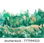 watercolor painting. landscape  ... | Shutterstock . vector #777594523