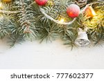 fir branch with christmas... | Shutterstock . vector #777602377