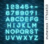 realistic neon alphabet. bright ... | Shutterstock .eps vector #777616513