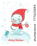 christmas greeting card with... | Shutterstock .eps vector #777625093