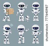 set of cute white ai machines... | Shutterstock .eps vector #777640987