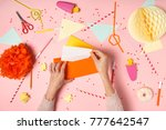 colorful pink background with... | Shutterstock . vector #777642547