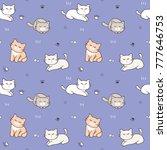 seamless pattern of cartoon cat ... | Shutterstock .eps vector #777646753