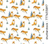 fox in the woods. watercolor... | Shutterstock . vector #777655897