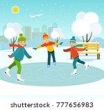 happy children skate on a... | Shutterstock .eps vector #777656983