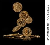 flying bitcoins in motion ... | Shutterstock . vector #777665113