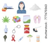 drug addiction and attributes...   Shutterstock .eps vector #777670363