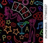 seamless pattern with neon art | Shutterstock .eps vector #777683227