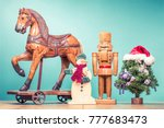 retro antique christmas wooden... | Shutterstock . vector #777683473