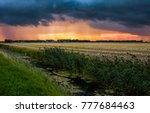 sunset farm agriculture field... | Shutterstock . vector #777684463
