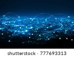 abstract line connection on... | Shutterstock . vector #777693313