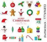 set of christmas icons on white ... | Shutterstock .eps vector #777696853