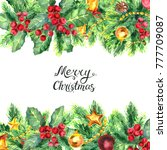 merry christmas lettering and... | Shutterstock . vector #777709087