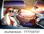 winter trip and two lovers in... | Shutterstock . vector #777710737