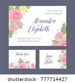 set of wedding invitation  save ... | Shutterstock .eps vector #777714427