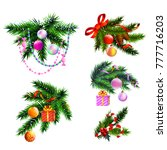 christmas realistic icons... | Shutterstock .eps vector #777716203
