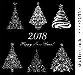 happy new year 2018  vintage... | Shutterstock .eps vector #777720157