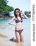 asian girl in colorful bikini... | Shutterstock . vector #777785953