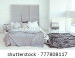bedroom interior with light... | Shutterstock . vector #777808117