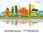 italy city skyline with color... | Shutterstock .eps vector #777816313